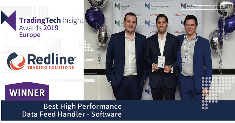 From left, Dave Carson, Patrick Lau, and Greg Ingledew of Redline EMEA at TradingTech Insight Awards Europe 2019