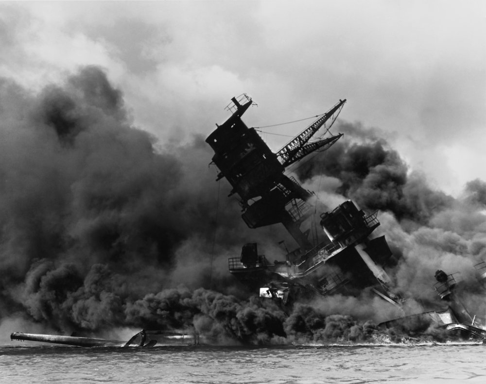 The USS Arizona during the attack.   (via)