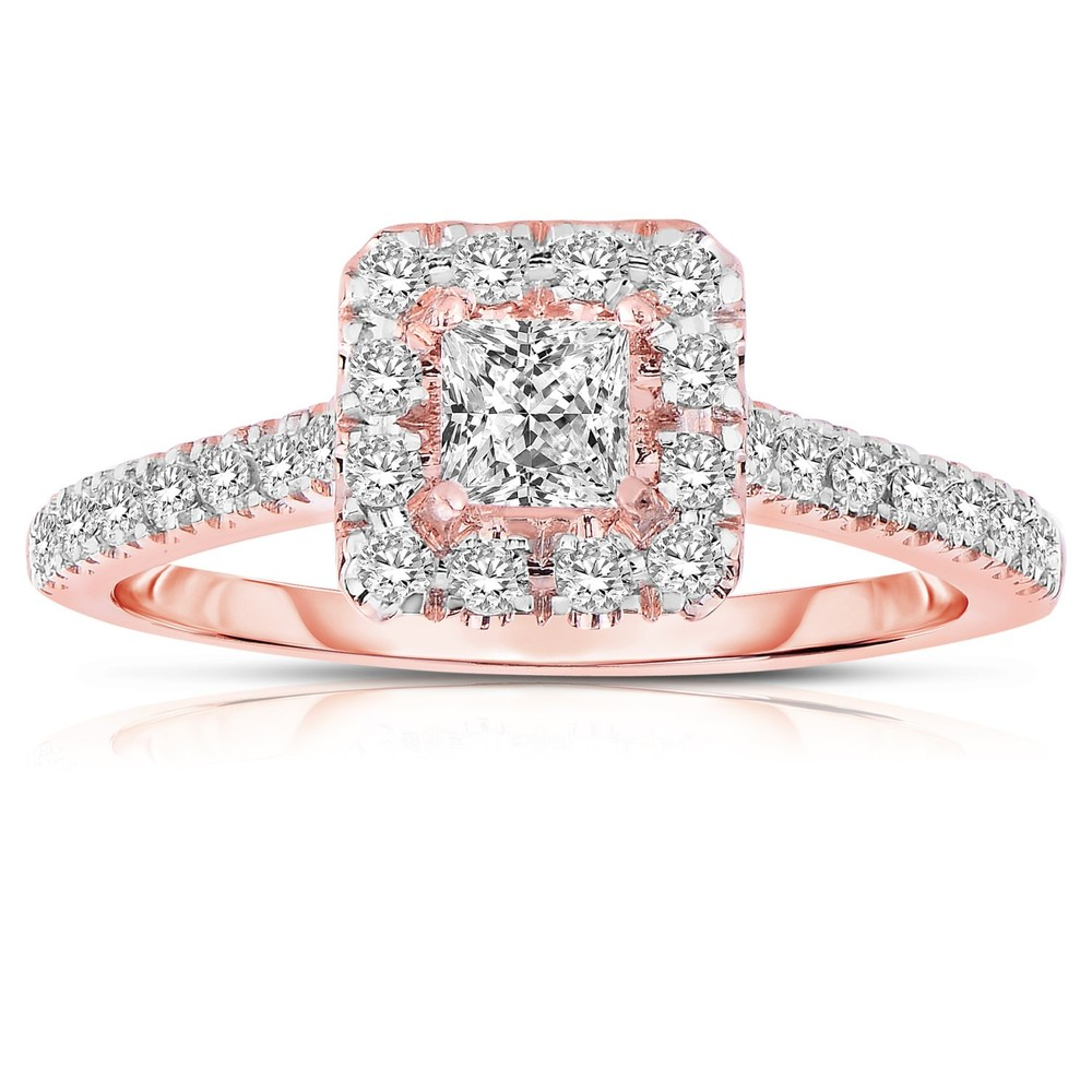 wedding ring set for her wedding ring sets under 1000 half carat princess cut halo - Gold Wedding Rings For Her