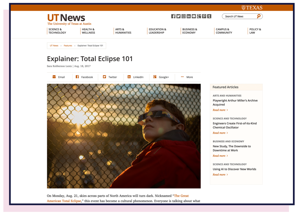 Legacy UT News article page with full navigation, breadcrumbs, social sharing buttons, and a sidebar with featured articles.