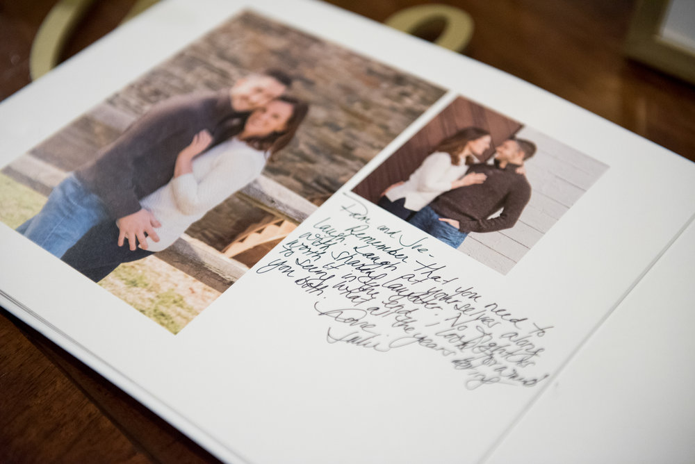 Love this idea. They turned their engagement photos into a guestbook for the reception.