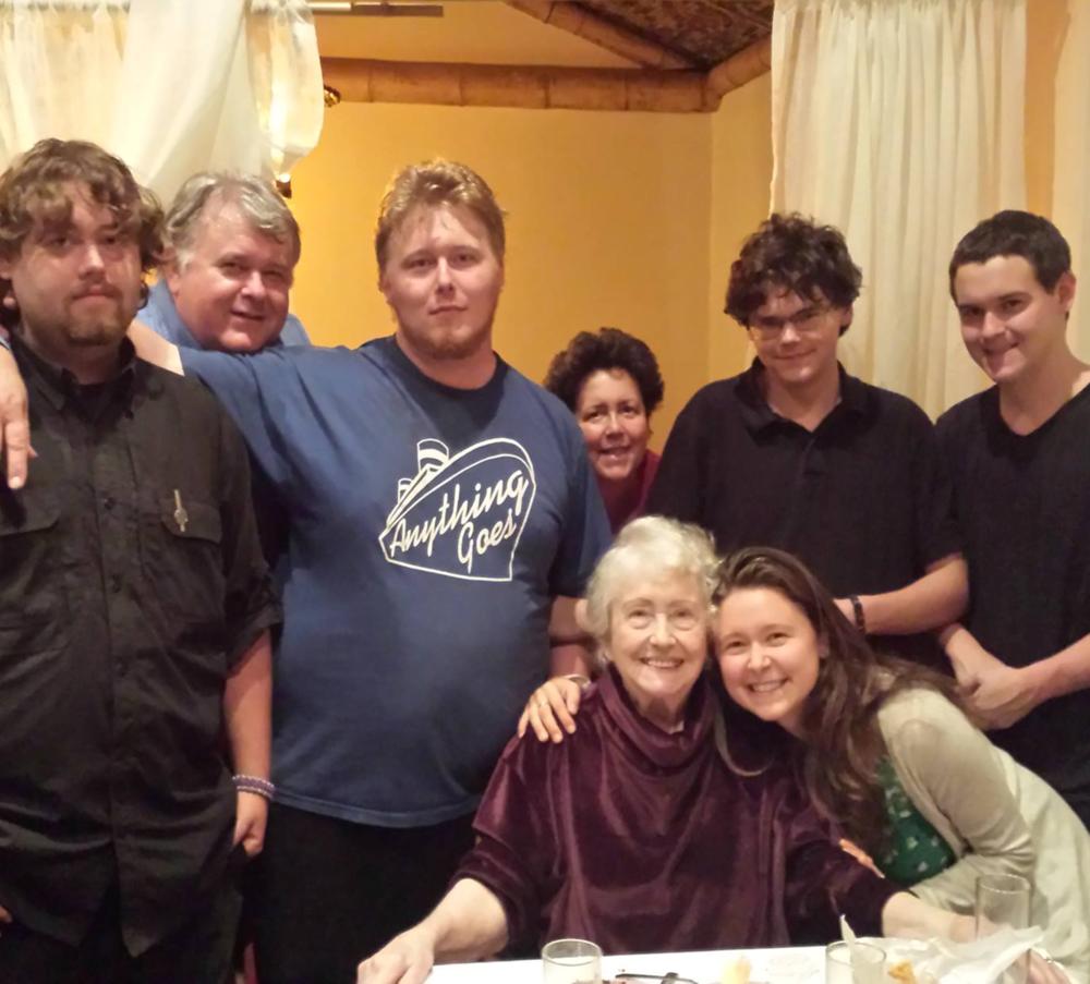 The Schuster-Ferguson clan at grandma's 90th karaoke birthday party