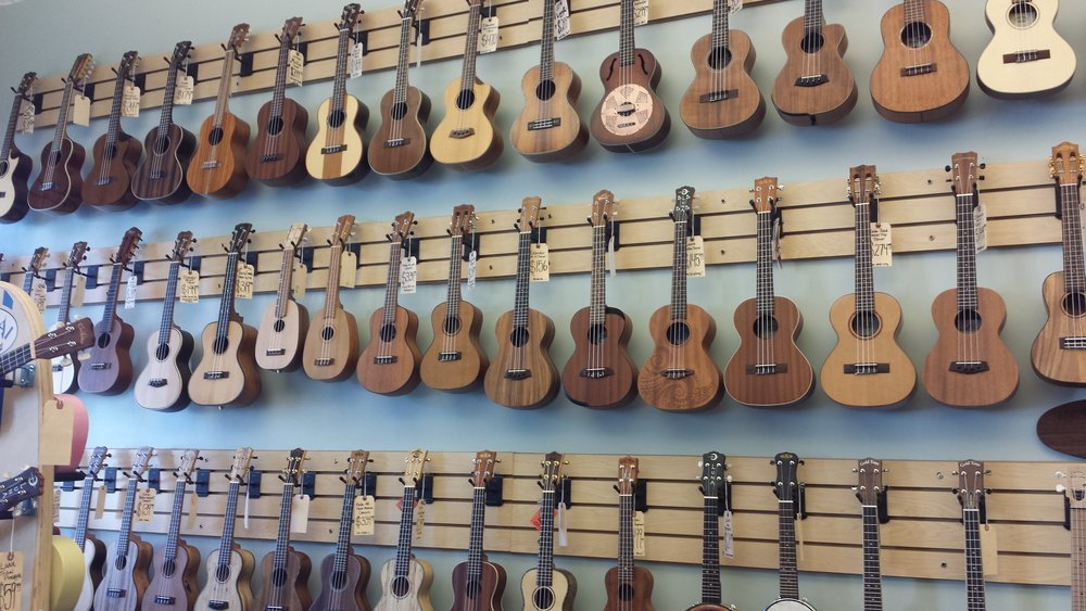 The most beautiful wall of ukes at Fan Guitar & Ukulele