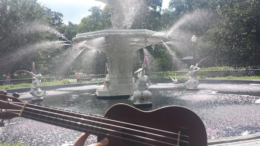 Here's a better photo of Forsyth Fountain where you can see that the water is indeed pink!