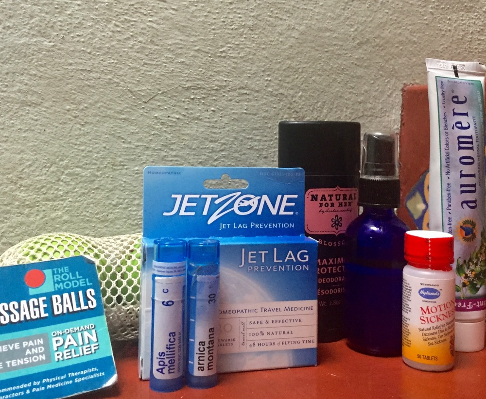 Things not mentioned above: Massage balls, homeopathic jet lag and motion sickness meds, two homeopathic internals for soreness and bug bites, awesome natural deodorant & toothpaste.