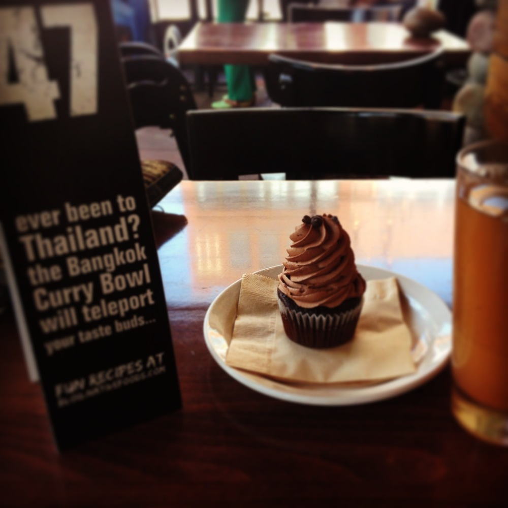 This was a free cupcake I was gifted after returning home from Thailand. I entered a Native Foods in Chicago, complimented the worker's smile, got this cupcake and the sign was perfectly fitting.