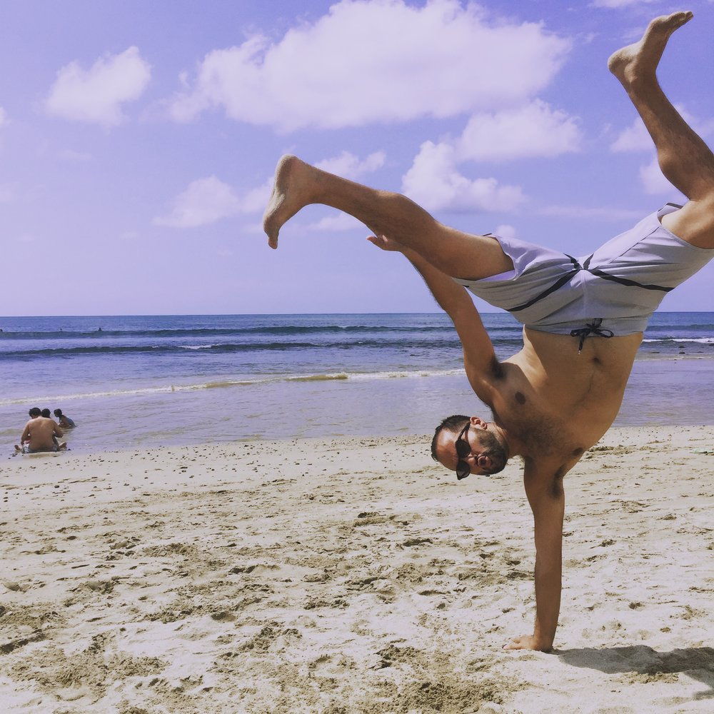 Here is Ramon doing a handstand in Sayulita. When in Rome!