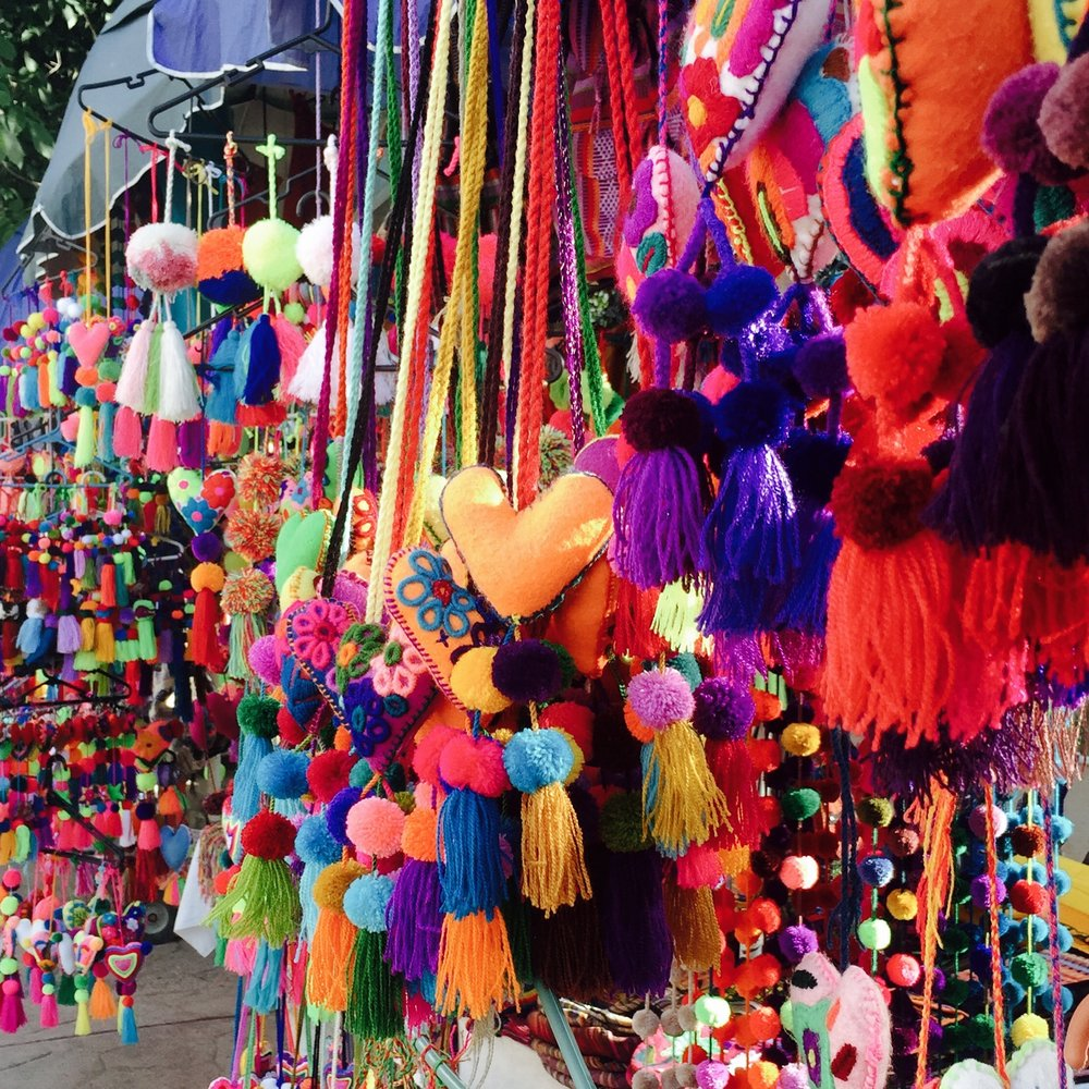 Huichol covered streets in Sayulita with cascading pompoms everywhere.