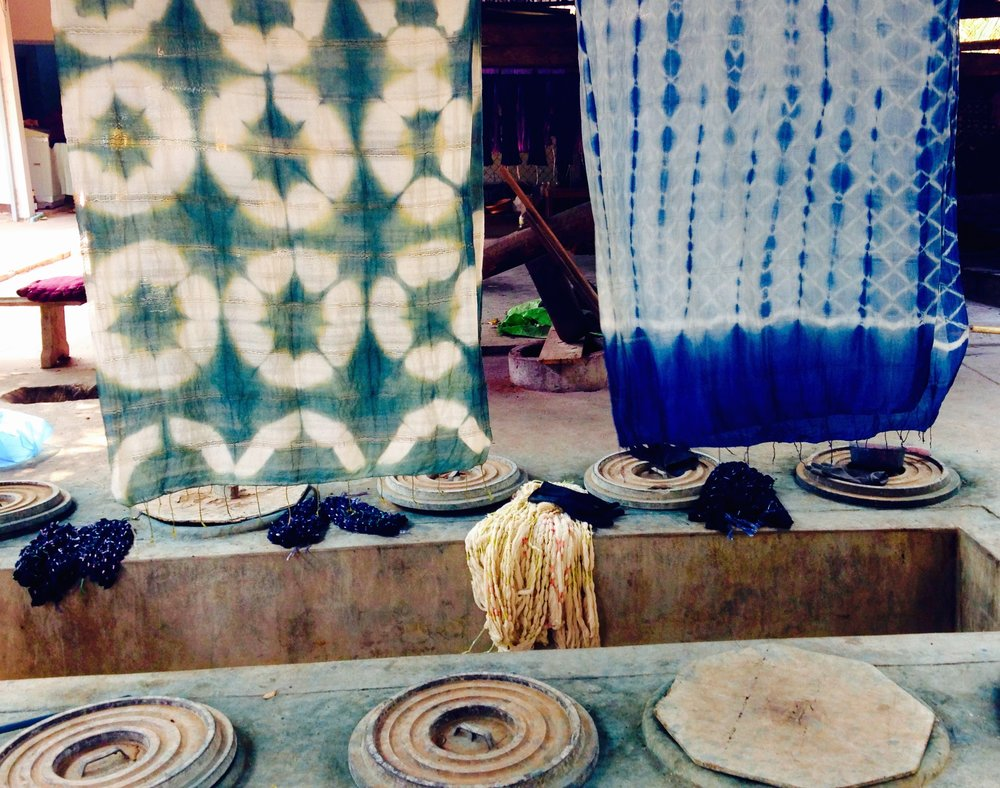 I learned the process of indigo dye from these 10-year old vats made by a women's vocational center in Laos.