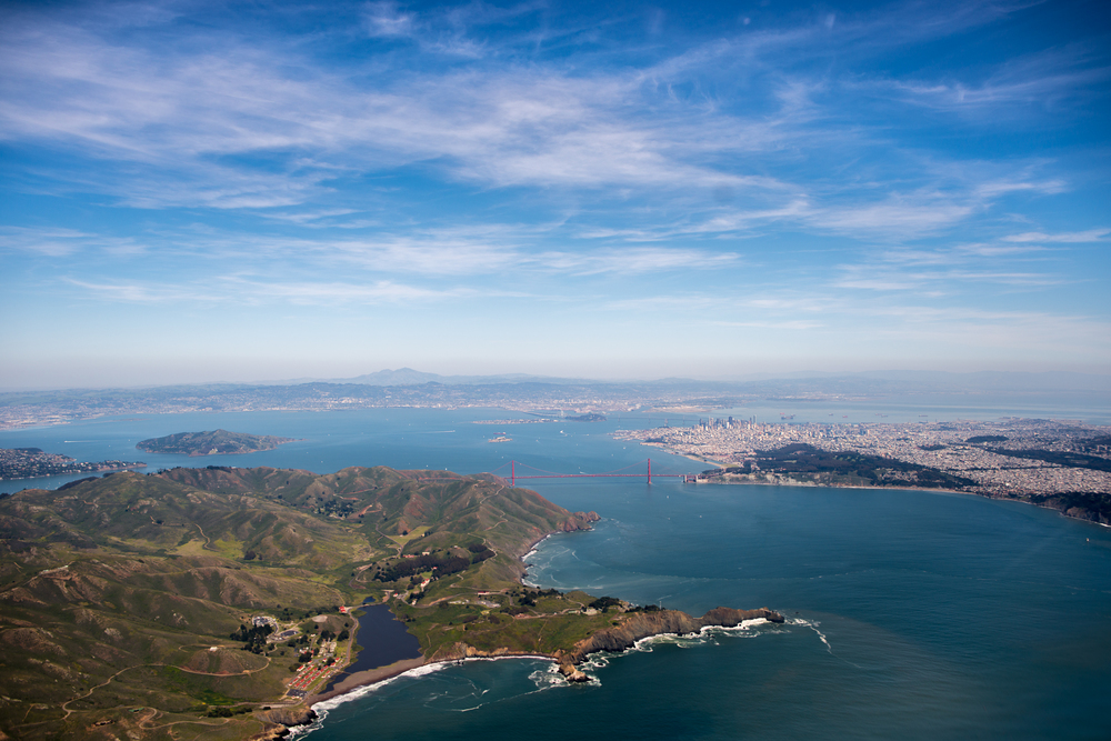 San Francisco Bay Area with the Golden Gate Bridge