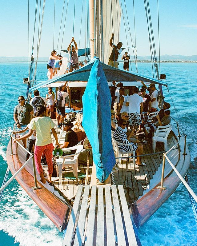"Analog shot from the bow of the Schooner ""Whales Tale"" in Fiji as the crew raises the sails. Minolta X-700 shooting Kodak Ektar 100. . . .#whalestale #fiji #nadi #denarau #sailing #mast #sail #pacific #oceana #daycruise #traveltheworld #wanderlust #analog #filmisnotdead #ishootfilm #kodakphoto #ektar100 #minoltax700 #kristofferpfalmer #kristofferglennimagery #pfalmer"