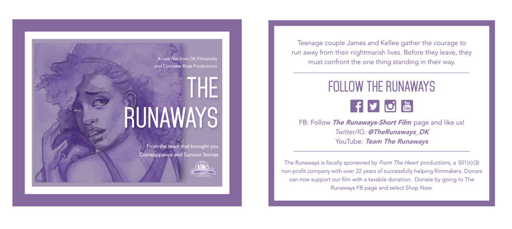 "Promotional Insert   This insert was used as a printed promotional tool for ""The Runaways"" short film.  I designed both the layout and painted backdrop."
