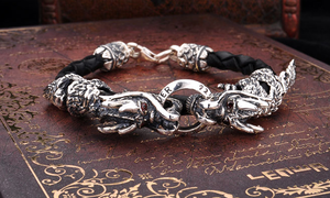 7a0b45fb0671f Double Head Dragon 925 Silver   Leather Bracelet — Lucid Anarchy
