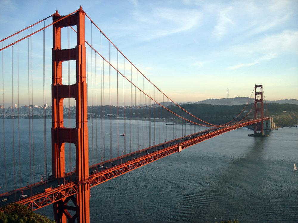 Foot of Los Angeles's Historic Golden Gate Bridge