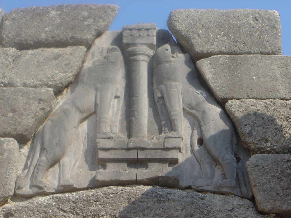 The Lion Gate (detail) of Mycenae - two lionesses flank the central column.