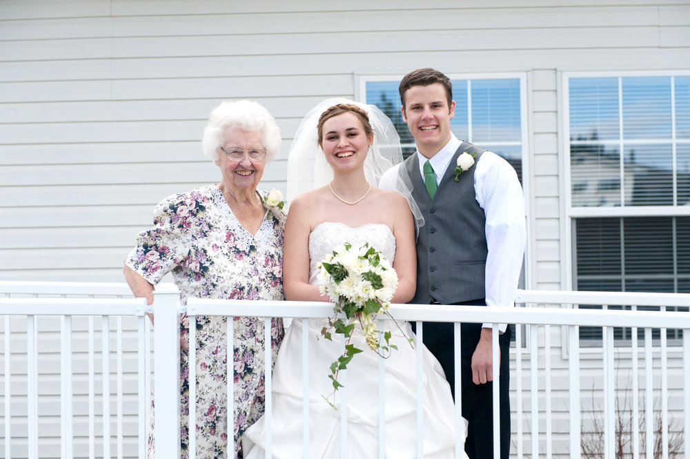 With Grandma B on our wedding day, four years ago.