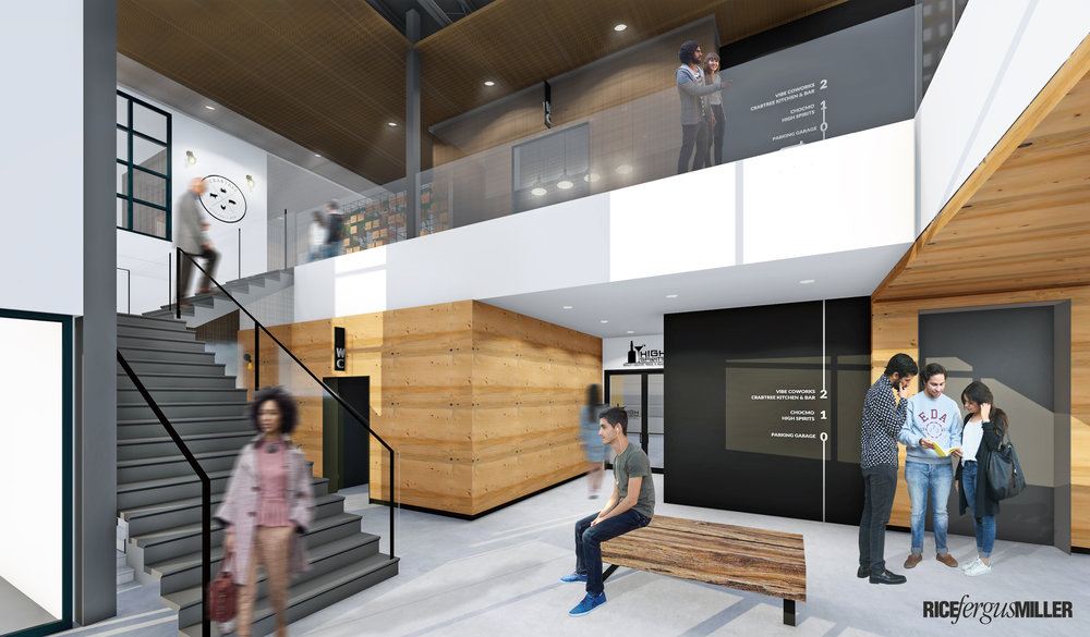 Conceptual rendering of the lobby of Poulsbo's new Work. Eat. Drink. building on 8th Avenue, developed by Tim Ryan Properties.
