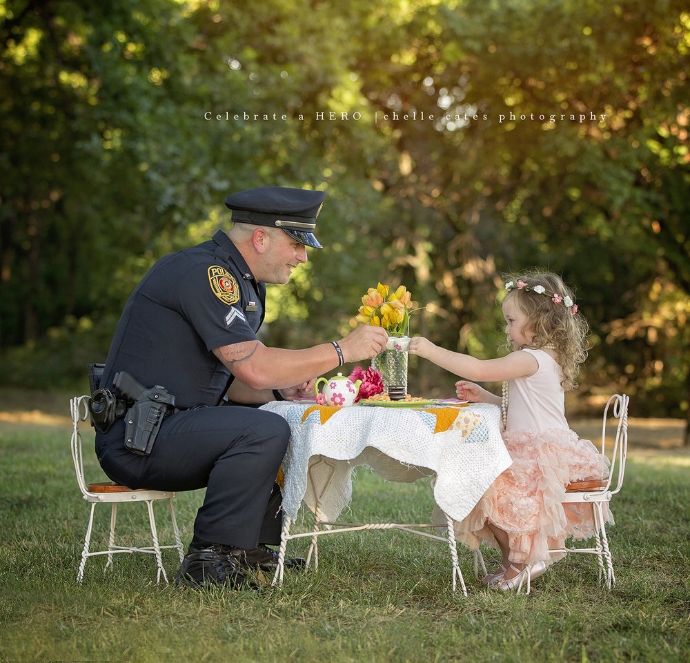 Bexley & P-Ray at their now famous tea party ~ featured on GMA, CNN, NBC, People Magazine, The Dr. Phil Show, BBC, FoxNews,                                                                                                           the New Yorker as well as other countless news and media outlets. You can read about Bexley & Officer Ray here-