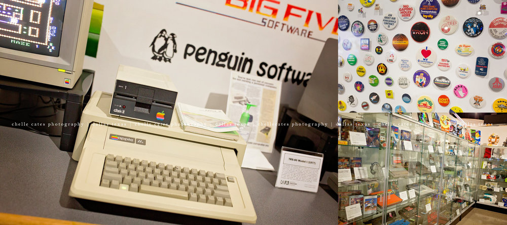 one of the first apple computers, huge collection of video game buttons and vintage console systems at the National Videogame Museum in Frisco texas