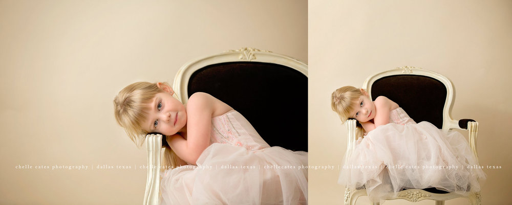 formal portrait of four year old in pale pink long tutu dress posed on black velvet chair with no smile on a ivory backdrop at the studio in dallas texas