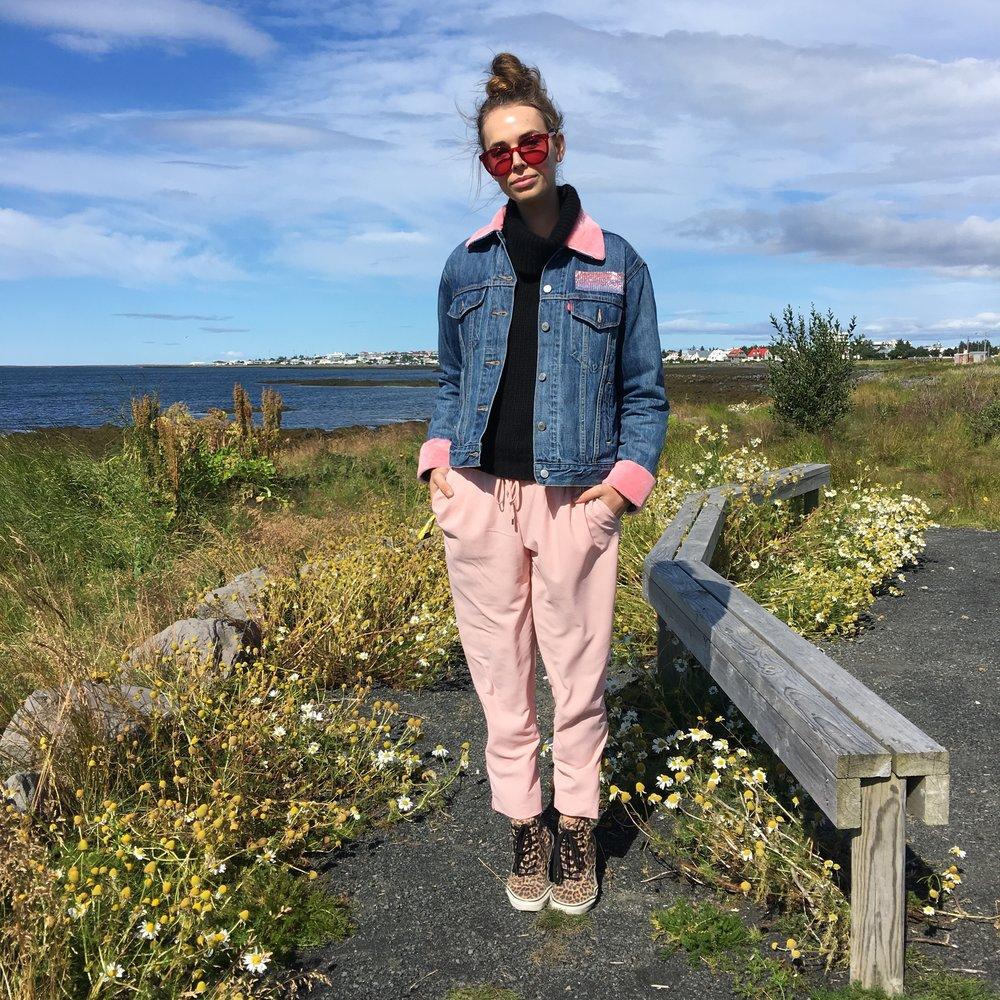 ELSIE Beaded Denim Jacket with Sky Pink Shearling from Therma Kota.JPG