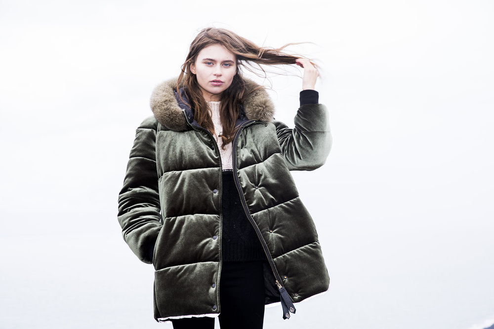 SAGA Parka in Moss Velvet by Therma Kota