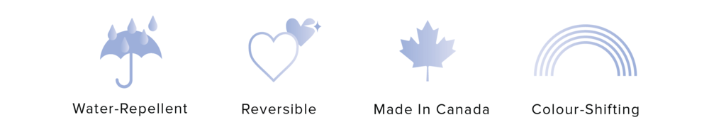 key features - water-repellent - reversible - made in canada - colour-shifting