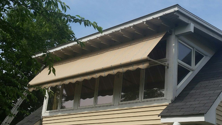 Window Robusta Retractable Awning Half Way
