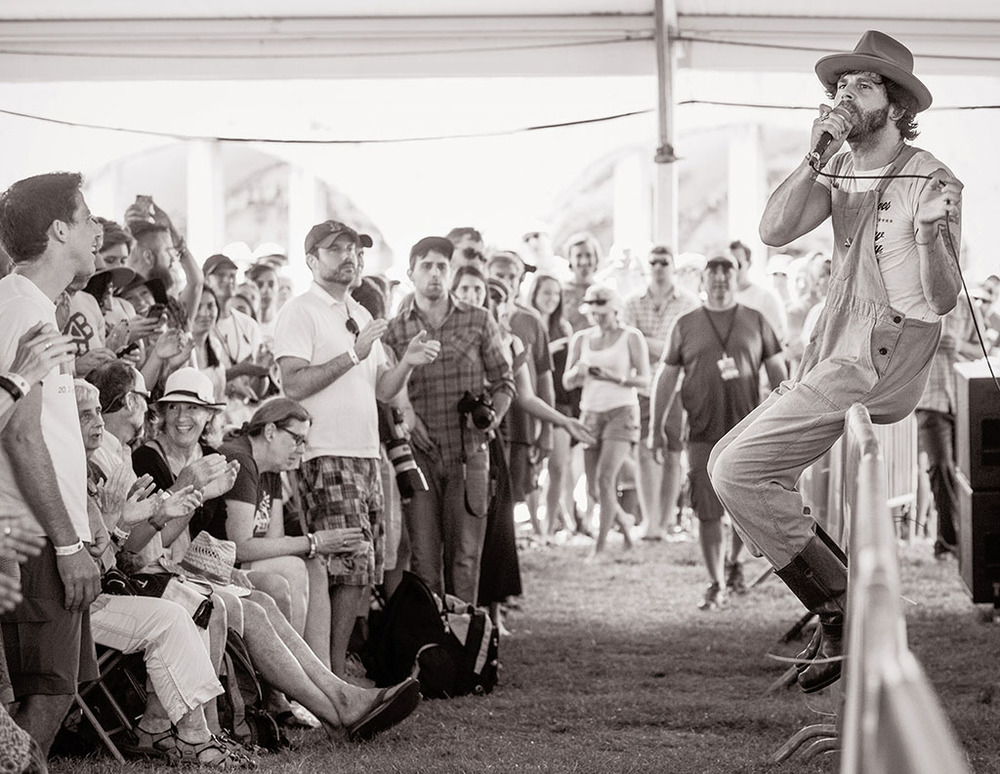 Langhorne Slim takes his high-energy performance into the crowd.