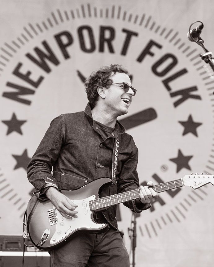 """Taylor Goldsmith of Dawes plays """"Maggie's Farm"""" using the Fender Stratocaster played by Bob Dylan 50 years ago when he famously surprised the festival crowd by going electric. The grand finale of this year's festival, '65 Revisited, included a rotating cast of performers paying homage to Bob Dylan and his iconic set in Newport."""