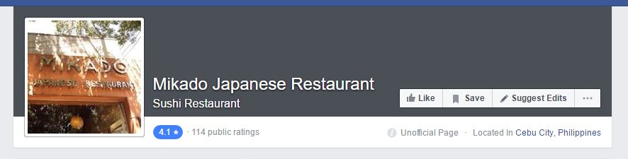 A restaurant rating is publicly displayed on it's Facebook page.