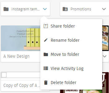 You can access the activity log through the folder drop-down.