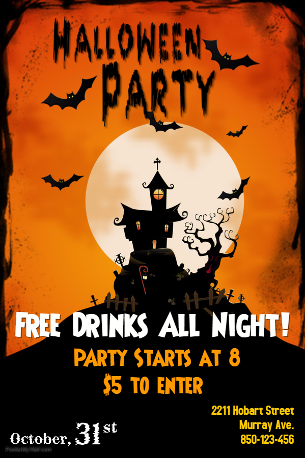 Haunted House Halloween Poster Template 1