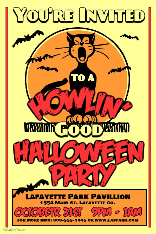 Howlin' Halloween Poster Template