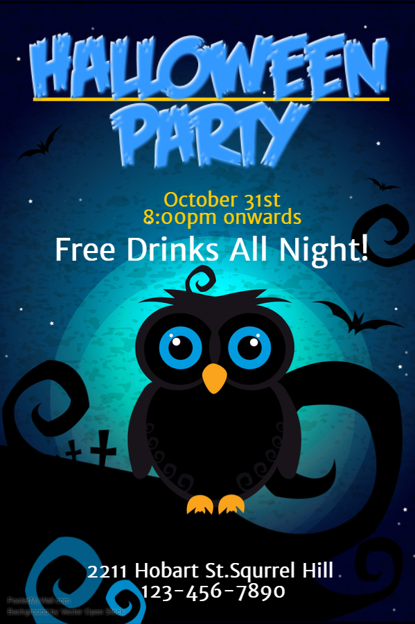 Owl Halloween Party Poster