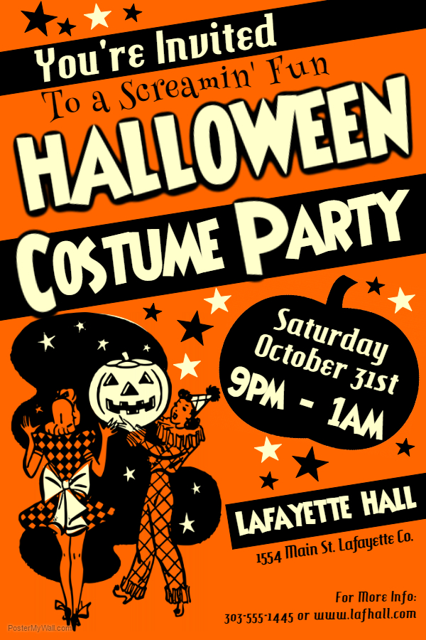 Orange Halloween Costume Party Poster