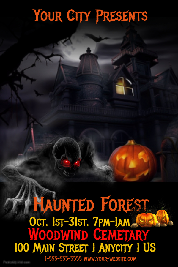 Spooky Halloween Poster With Haunted House