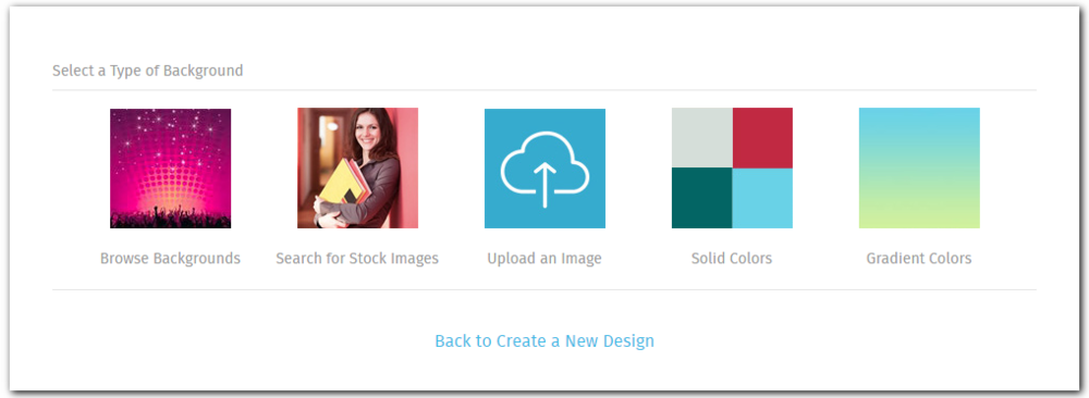 When starting on your design, you can choose to add a stock photo as the background image too. You may have to crop the image to fit the size of your design.