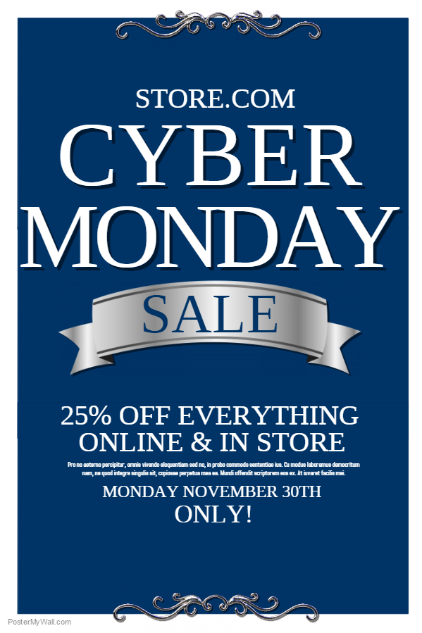 Blue Cyber Monday Sale Flyer Template.