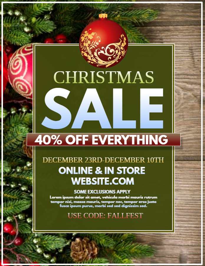 Natural Looking Christmas Retail Poster Template