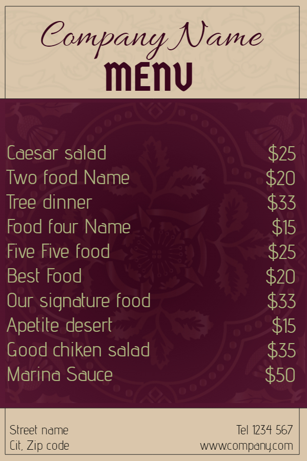 Purple Menu
