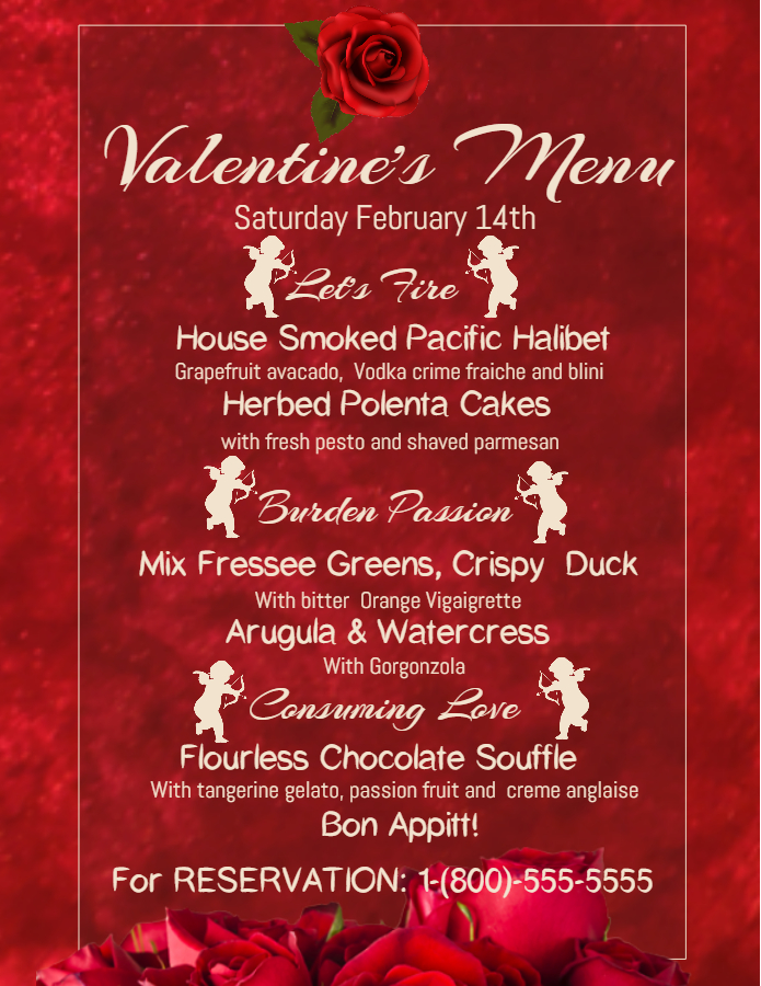 Red Valentine's Menu