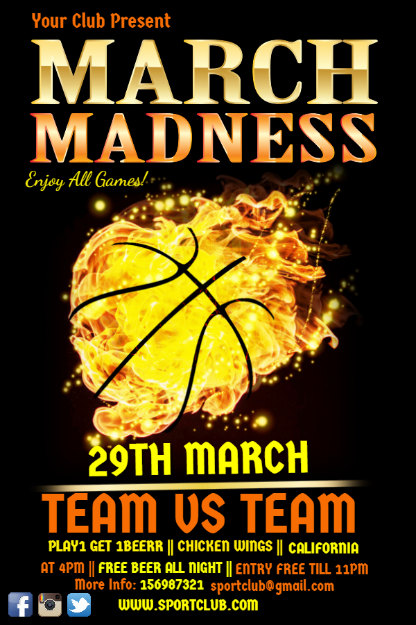 March Madness yellow flyer template