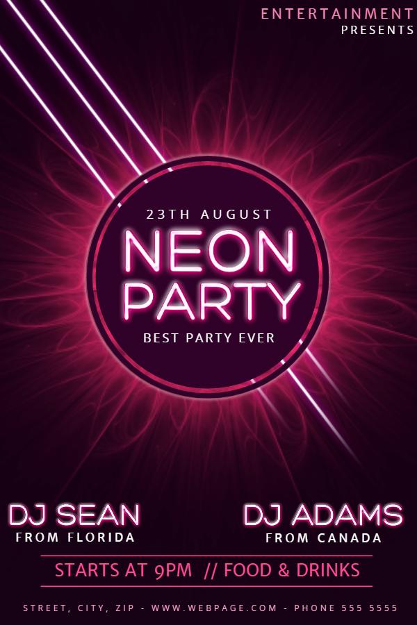 Neon Party Nightclub Flyer