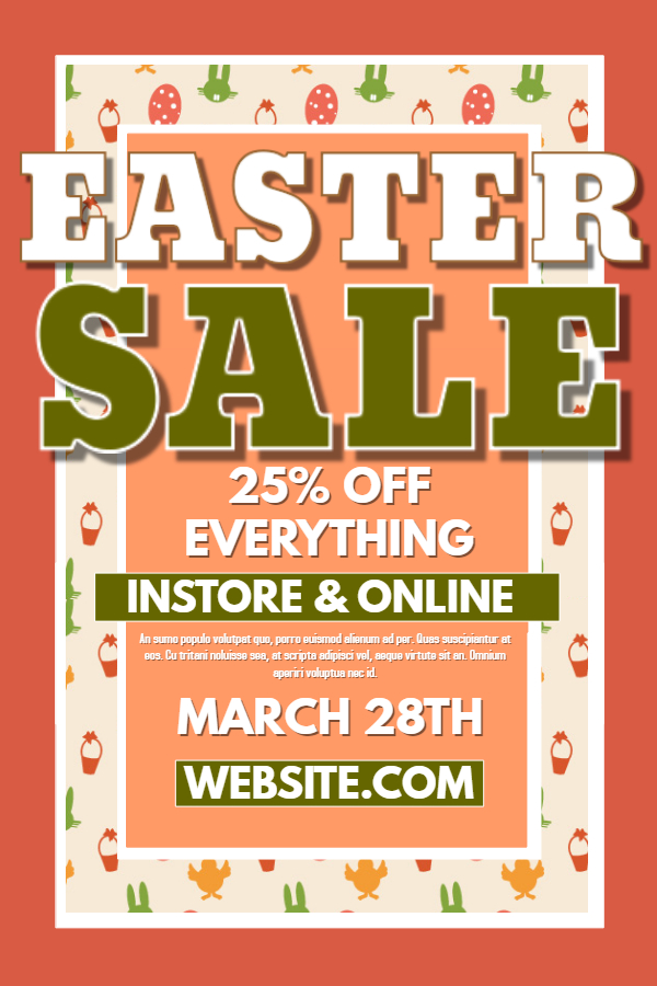Easter Sale Poster Template.