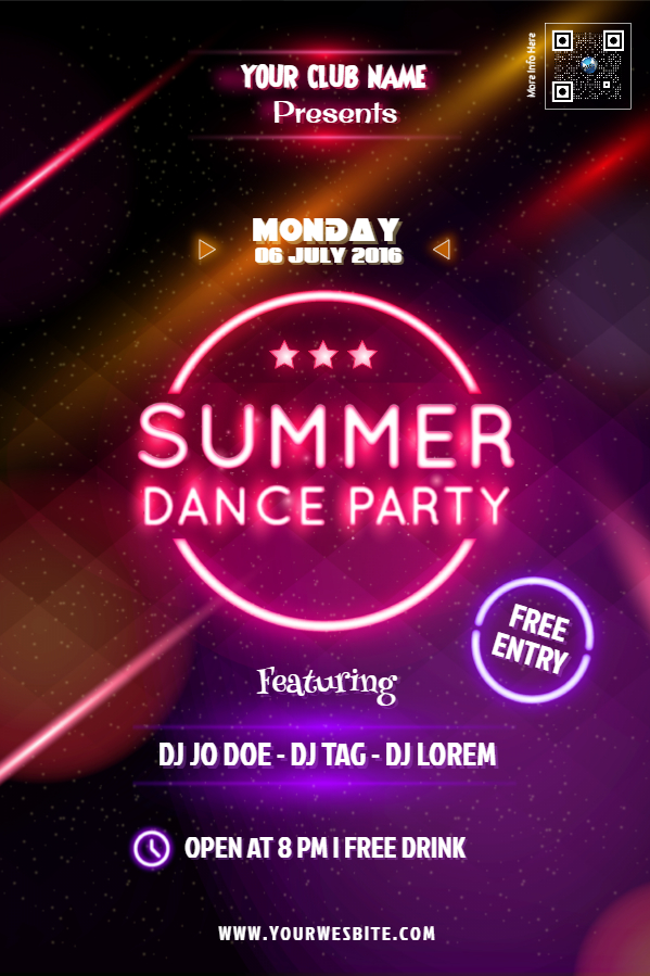 summer dance party flyer