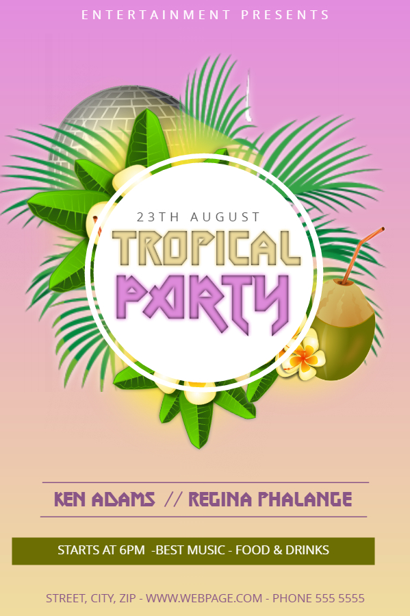 Tropical party flyer design