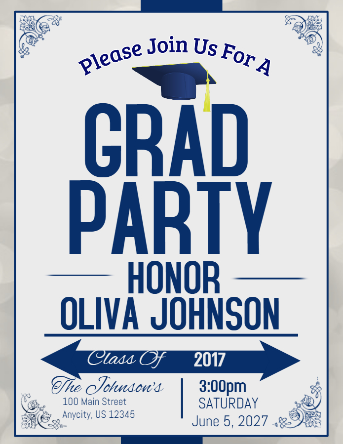 grad party poster template