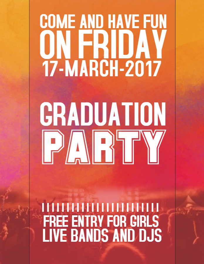 grad party poster design template