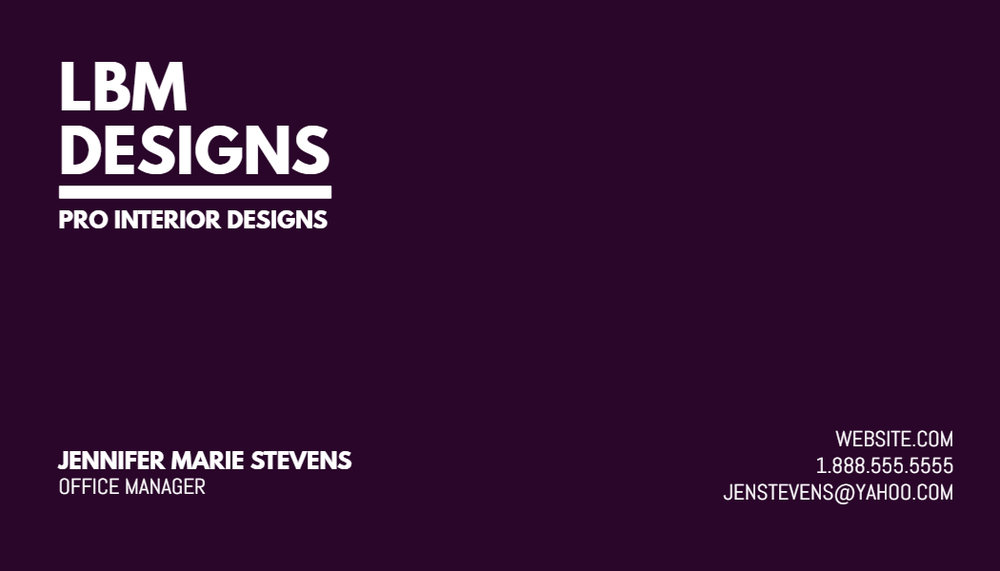 Purple business card design template